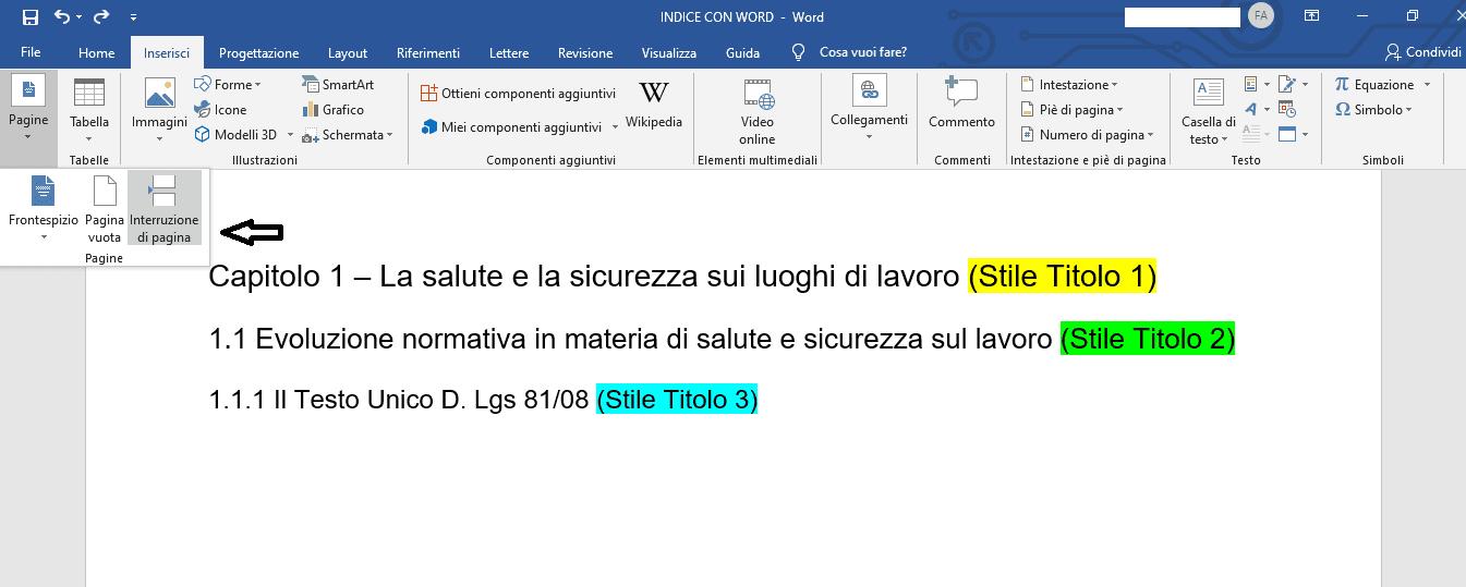 Indice word preparazione pagina indice - Tesi autore