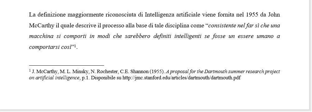 Note a piè di pagina - esempio citazione bibliografica -Tesi autore