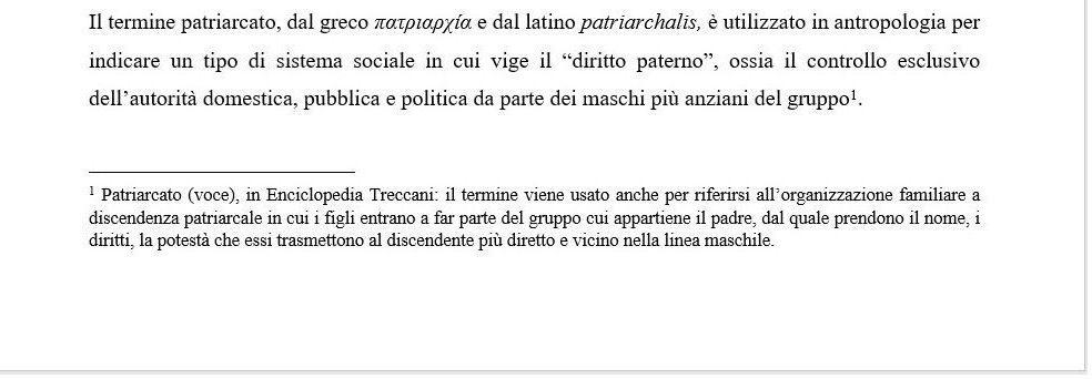 Note a piè di pagina - esempio definizione enciclopedica -Tesi autore